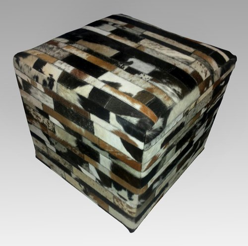 SGE Striped Leather Hide Poufs
