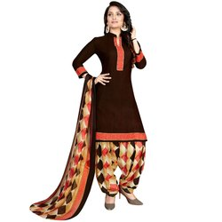 Rajnandini Brown Crepe Printed Unstitched Dress Material