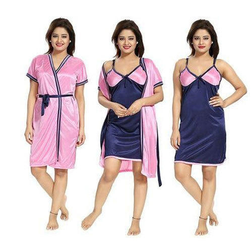 Ladies Silk and Satin Plain Nightgown