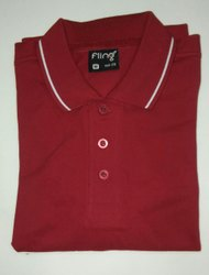 Men's Cotton Red Collar T-Shirt