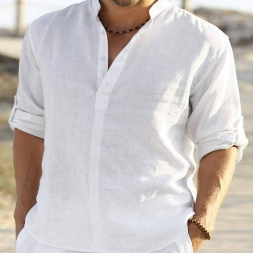 exquisite design enjoy discount price great fit White Casual Wear Mens Linen Shirt