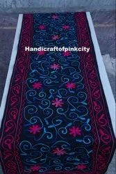 Cotton Square Jaipur Famous Handmade Suzani Embroidery Table Cloth Runner, Size: 18 X 72 Inches