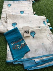 Embroidery with Mirrorwork Linen Sarees