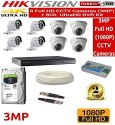 HIKVISION Full HD 3MP CCameras Combo Kit 8CH HD DVR 4 Bullet Cameras 4 Dome Cameras 2TB Hard Disc