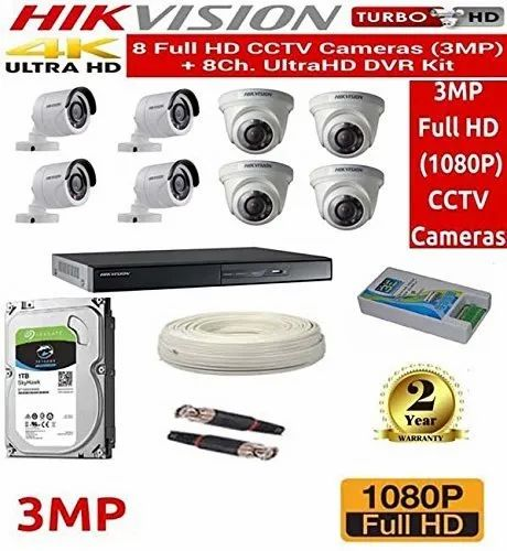 CCTV Cameras - HIKVISION Full HD 3MP CCameras Combo Kit 8CH HD DVR 4