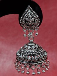 Black Oxidized Metal Silver Jhumka