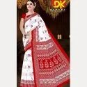 Printed Party Wear Bollywood White Booty Cotton Saree, 5.5 M (separate Blouse Piece)