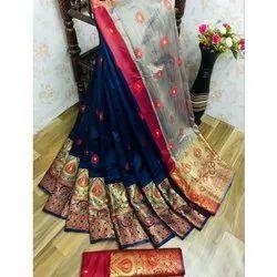 Shree Balaji Casual Lichi Silk Saree, Packaging Type: Box, 6.3 mtr