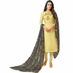 Rajnandini Light Yellow Chanderi Silk Embroidered Semi-Stitched Dress Material With Printed Dupatta
