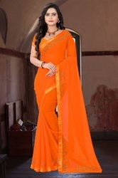 Georgette Designer Stone Work Orange Color Saree