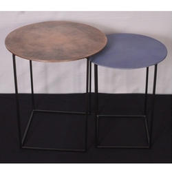 Double O Vintage Round Side Table