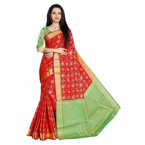 29c4353ff9 Rivana Patola Silk Silk Fancy Patola Saree With Blouse Piece, Rs 849 ...