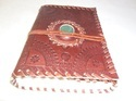 Vintage Leather Handmade Journal with Stone