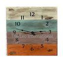 Square shape multi color Wooden dial large Clock