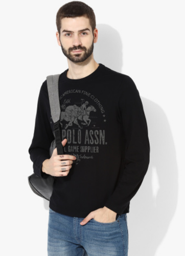 Denim Co.Black Printed Regular Fit Round Neck T-Shirt