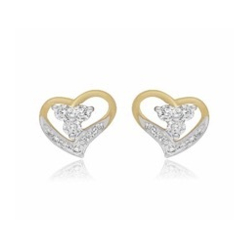 Valentine Special Sign Of Love 18 Kt White Gold Earring Heart Diamond