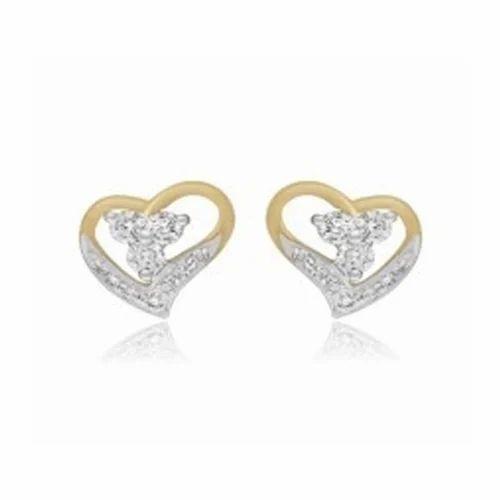 Valentine Special Sign Of Love 18 Kt White Gold Earring Heart Diamond Earring