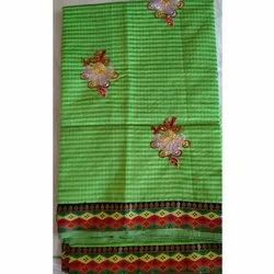 Wedding Wear Embroidered Light Green Cotton Embroidery Saree, With Blouse Piece, 6.3 Meter