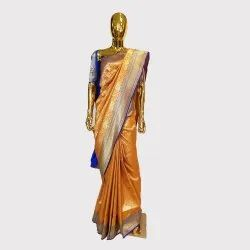 Orange Katan Silk Saree