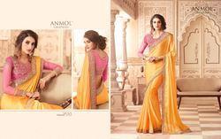Chiffon Yellow Designer Fancy Saree