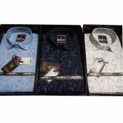For You Collar Neck Men Printed Cotton Shirt, Size: S-xxl