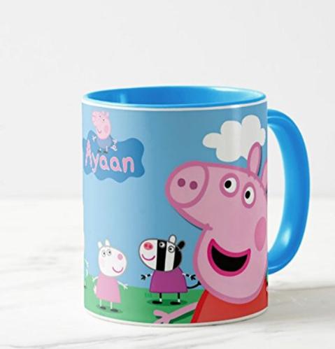 Inside Color Blue Pappa Pig Mug With Name Print Birthday Gift Return