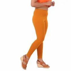 Mustard Yellow Lycra Ankle Length Leggings