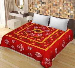 Red Color New Patch Work Cotton Double Bedsheet