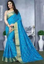 Azure Blue Heavy Resham Embroidered Saree