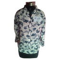 M And Xl White And Blue Ladies Rayon Printed Shirt