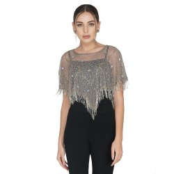 Beige Embroidered Cocktail Wear V Shape Geometric Tulle Shrug, Age Group: 30-50