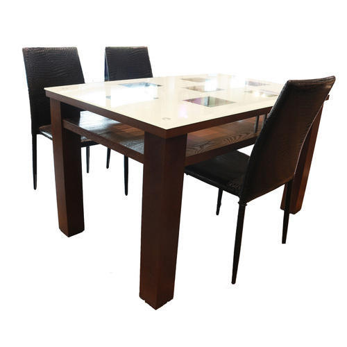 White Brown Modern Marble Top Dining Table