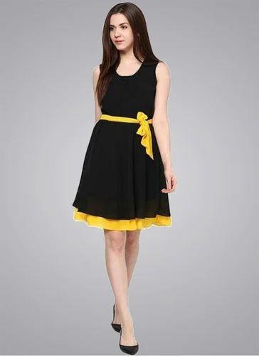 7684fd7c6f930 Dresses Casual Wear WIGGLEE New Black & Yellow Georgette Stylish Western  Dress