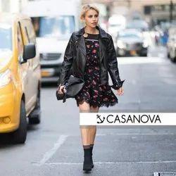 Full Sleeve Black Casanova Ladies Leather Jackets, Size: S-XXL
