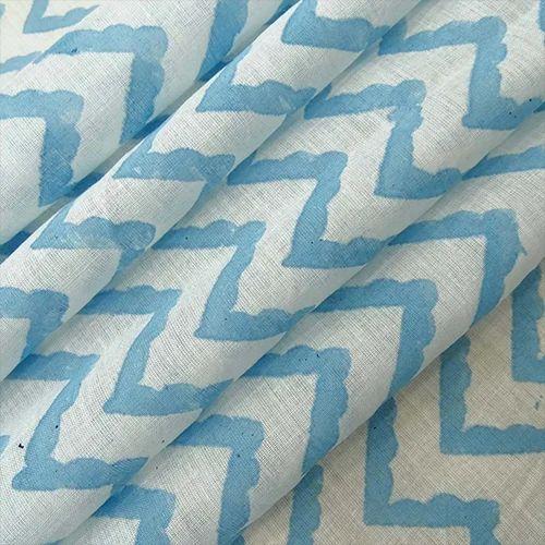 Indigo Blue Hand Block Zig Zag Print Cotton Voile Fabric, GSM: 50-100