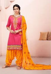 Silk Embroidered Bridal Patiala Suits, Size: S, M & L