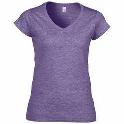 Cotton Plain V Neck T Shirt, Size: XL