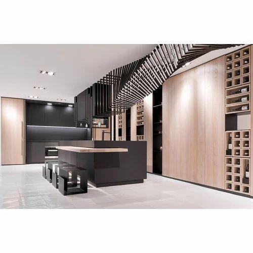 Wooden Modular Kitchen Designing, Warranty: 1-5 Years, Kitchen Cabinets