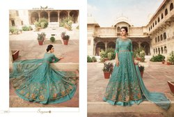 Net and Satin Ladies Long Gown