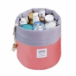 Bucket Barrel Shaped Cosmetic Makeup Bag