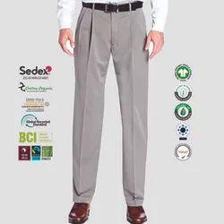 Cotton Oeko Tex Certified Mens Pleated Trousers