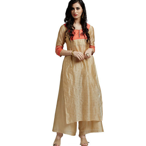 273448e60dca Cream 3/4th Sleeves Jaipur Kurti Palazzo Set, Rs 915 /set | ID ...