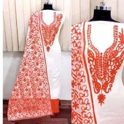 Embroidered Casual Wear Silk Dress, Size: Free