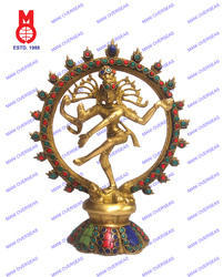 Natraj Dancing On Rd.Base W/stone Work Statue