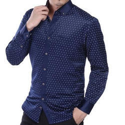 Party Wear Dotted Men Cotton Casual Shirt