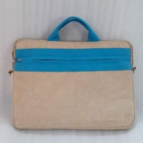 Plain Brown and Blue Laptop Jute Bag, Size/Dimension: 15.5 Inch(Length)