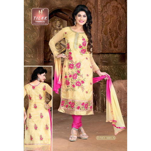 Tisyu Net Party Wear Neck Design Ladies Suit Semi Stitched Rs 575