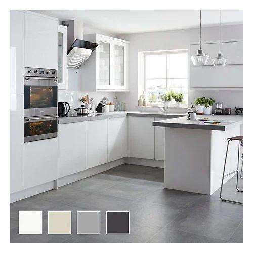 pvc and wooden u shape island modular kitchen rs 1000