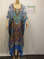 Long Blue Color Digital Printed Kaftan