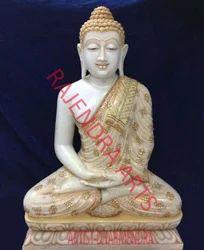Marble Buddha Gold Work
